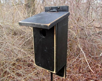 Primitive Black Pained Bluebird House