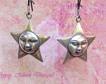 Star moon earrings Silver Celestial jewelry