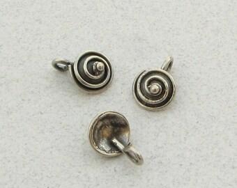 FLASH SALE Snail Swirl Bali Sterling Silver Whimsical Charms Pendants (1 piece)