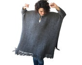Dark Gray Handknitted Plus Size Poncho Sweater Dress With Fringe by Afra