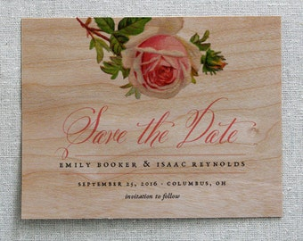 Wooden Save the Date Card, Vintage Rose Real Wood