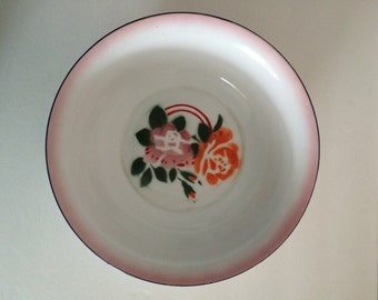 Floral Enamel Wash Bowl - Large Serving Bowl - Sturdy Pines Cottage Chic Flower