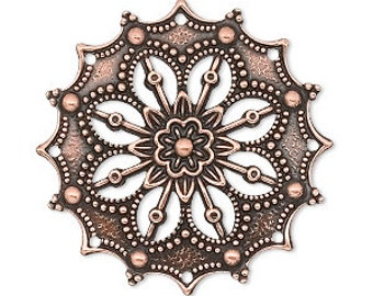 Antiqued Copper Filigree, Filigree Flower, Copper Pendant Wrap, Filigree Findings, Antiqued Copper Disc, 34x34MM, Quantity 4, DESTASH