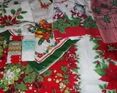 Vintage Retro Christmas Kitchen Apron Napkin Tablecloth Cutter Lot