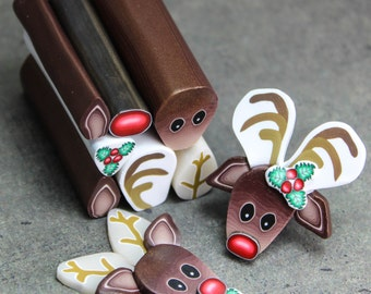 Set of 7 Polymer Clay Canes -Holly, and Reindeer Face, Ears, Antlers, Nose