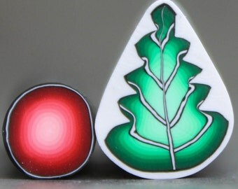 """Holly Berry and Leaf, Set of 2 Canes -""""Holly Jolly"""" (11D)"""