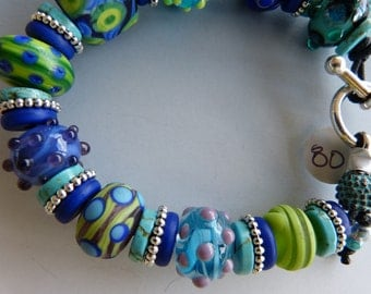 Lampwork Bead Bracelet Made in Turquoise, Cobalt, Purple and Lime