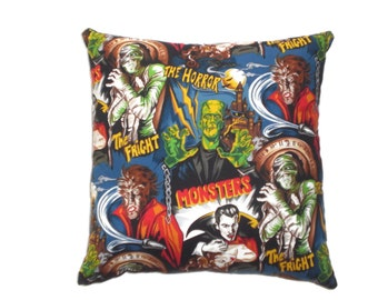 Horror Movie Monsters Throw Pillow Home Decor Bedding Psychobilly Rockabilly