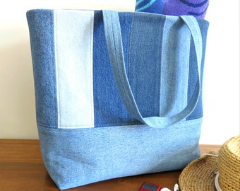 Large Denim Tote Bag, Upcycled Denim Weekend Bag, Shopper, Repurposed Denim Beach Bag