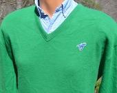 70s vintage sweater WRANGLER v-neck golf green horse jumper Medium Large soft 80s