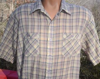 vintage 80s shirt PLAID brown short sleeve button down preppy soft Large XL arrow 70s