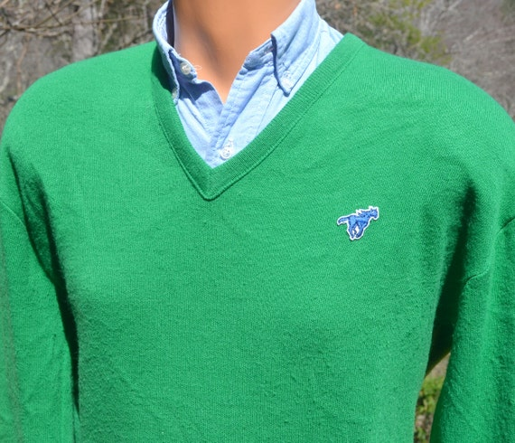 70s vintage sweater WRANGLER v-neck golf green horse jumper Medium Large soft 80s