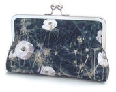 Black and white poppy clutch bag, silk purse, flower, ON SALE