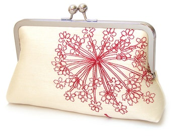 Red starburst clutch bag, silk-lined purse, wedding accessory, bridesmaid gift, ON SALE
