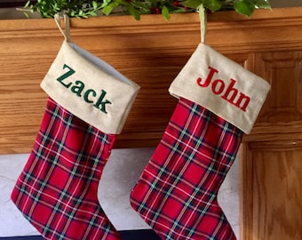 Personalized Christmas Stocking - Monogram Red Plaid  Christmas stocking - Stewart plaid holiday decor - family Christmas stockings