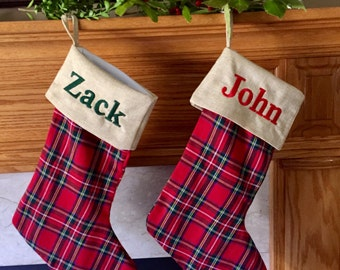 Personalized Christmas Stocking - Monogrammed Red Plaid  Christmas stocking - Stewart plaid holiday decor - family Christmas stockings