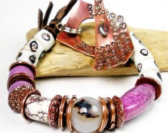 Sugilite Bracelet, Phosphosiderite Bracelet, Wild Horse Magnesite, Copper Jewelry, Antique Venetion Trade Beads, Tribal Jewelry,- Wild Eyes