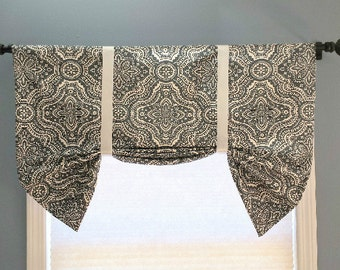 Faux Roman Shade/Butterfly Valance/Tie up Valance/Topper/Stationary Roman Shade/Dakota Timberwolf Premier Prints/Gray/Blue/Ivory