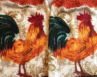 Rooster Print Kitchen Towel set of 2