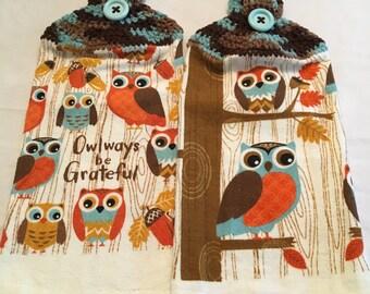 Owlways be Grateful Print Towels set of 2