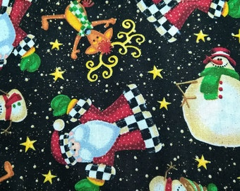 Christmas Santa, Snowman & Reindeer - fat quarter