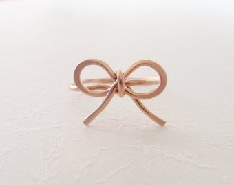 Bow ring, 14k rose gold filled,handmade