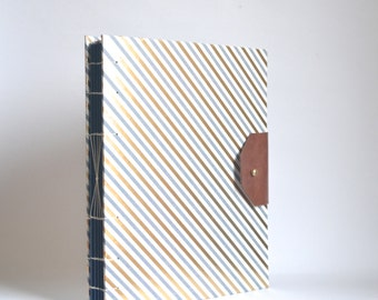 Blue and Gold Postal Stripes Handbound Book, Large Hard Cover Journal with Reclaimed Leather Closure, Hardcover Blank Book