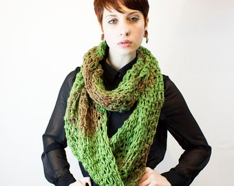 only 1 Left Cowl neck hood scarf circle eternity sage green rust acid wash tye dye wool