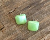square stud earrings | lime green enamel studs | lucite cubes by leetie