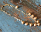 Bubble Necklace | Frosted Gold Beaded Drop Necklace | On Frosted Gold Chain | Adjustable