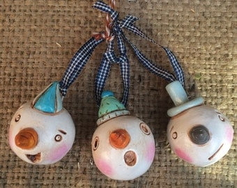 Set of Three Christmas Folk Art Ornaments snowman in white and blue
