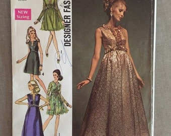 Vintage 1960s Simplicity 8497 Size 12 Bust 34 - OH - Evening Dress/ Vintage Simplicity / 60s Simplicity / 60s / Gown / Floor Length Dress