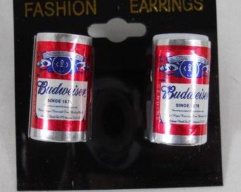 Budweiser Beer Can  Food Earrings  - 1 inch- pierced