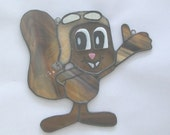 Rocky the squirrel suncatcher from Rocky and Bullwinkle show OOAK