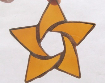 Gold star swirled copper accent stained glass ornament or suncatcher