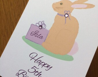Little girl's rabbit birthday card - lilac - Personalised for you with name & age