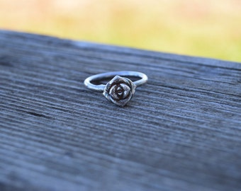 Stories of the green and growing - single succulent ring- sterling silver - size 7.5