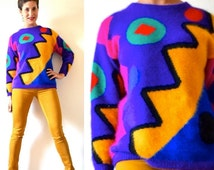 FLASH SALE / 25% off Vintage 80s 90s Surprise Party Abstract Angora Sweater (size small, medium)