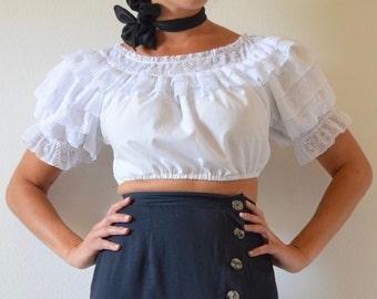 Vintage 60s 70s White Ruffled Mexican Crop Top (size small, medium)