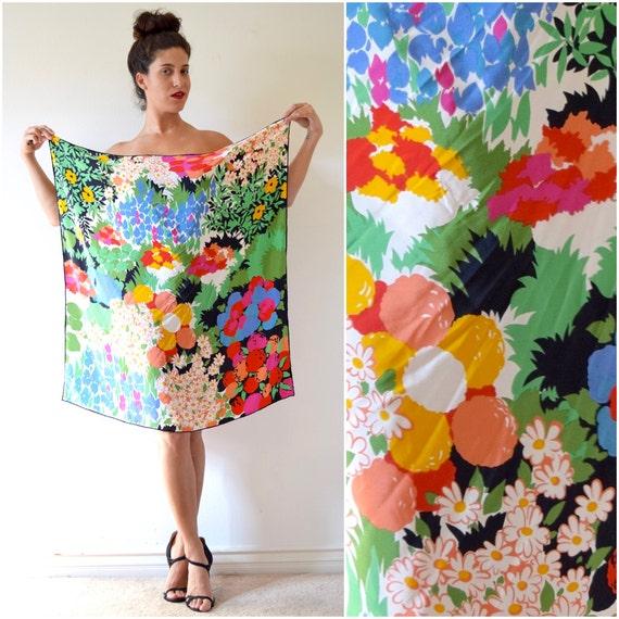 Vintage 60s Floral Print Oversized Silk Scarf