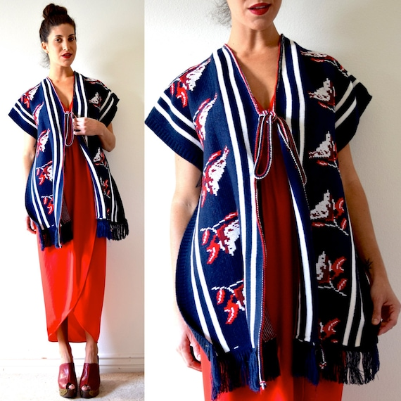 SUMMER SALE/ 30% off Vintage 70s Red Robin Navy Blue and White Striped Fringe Poncho Serape