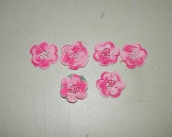 6 Vintage Pink Crochet Rosette Lace Rose Rosettes 11396