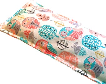 READY To SHIP - Hot Cold Packs,  Microwave Heating Pad, Ice Packs, No Sections, Owl Fabric - FLAXSEED - Unscented 5x14""