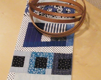 Table Runner/Wall Hanging-The Whimsy of Black and Blue, Fiber Art