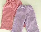 Two Pairs of 80s Corduroy Baby Girls Pants Size 9-12 months