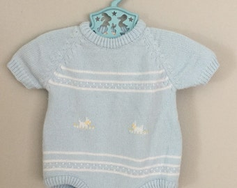 Vintage 80s Boys Embroidered Lamb Knit Sweater Onesie 0-6 months