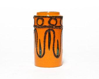 SCHEURICH keramik 203-18, Fat Lava vase, West German vase, Orange Scheurich vase, Mid Century Modern home decor.