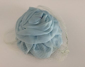Vintage Baby Blue Pillbox Hat with Veil