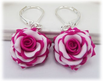Hot Pink White Rose Petal Earrings