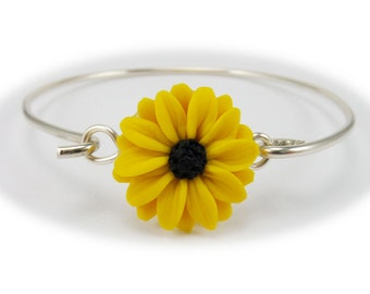 Black Eyed Susan Sterling Silver Bracelet - Black Eyed Susan Jewelry Collection